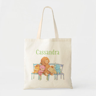 Five Cuddly and Colorful Bears On Chairs Tote Bag