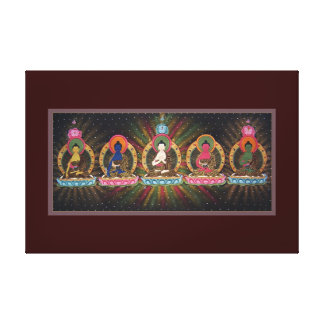 Five Dhyani Buddhas Wrapped Canvas