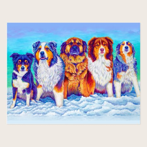 Five Dogs in the Snow Portrait Postcard