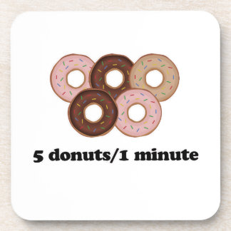 Five donuts in one minute beverage coaster