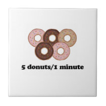 Five donuts in one minute ceramic tile