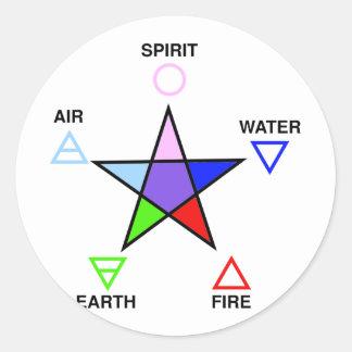 Five_elements_and_pentagram Pegatina Redonda