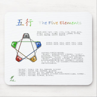 Five Elements White Mouse Pad