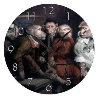 Five Fancy Monkeys Large Clock