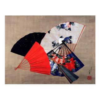 Five Fans, Hokusai Post Card