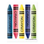 Five fat crayons postcard