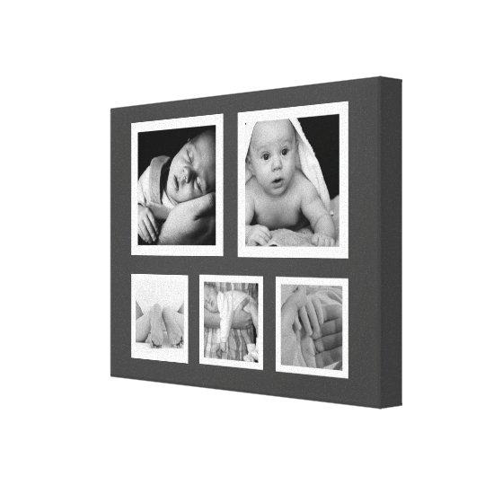Five Fave Photos with White Frames Collage Canvas Print | Zazzle.com