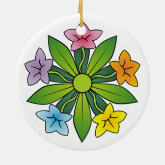 Five flowers in rainbow colors Double-Sided ceramic round christmas ornament