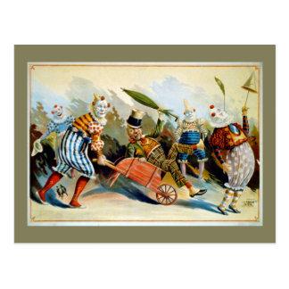 Five French Clowns Vintage Illustration Postcard