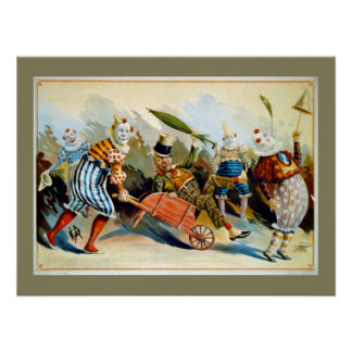 Five French Clowns Vintage Illustration Poster