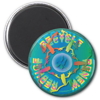 five frogs and dragonfly-3-Rs 2 Inch Round Magnet