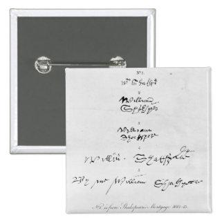 Five Genuine Autographs of William Shakespeare 2 Inch Square Button