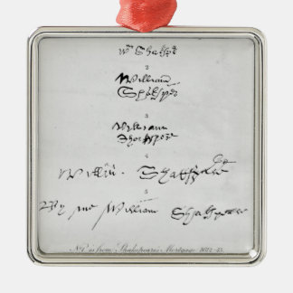 Five Genuine Autographs of William Shakespeare Metal Ornament