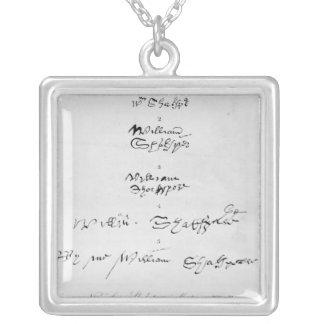Five Genuine Autographs of William Shakespeare Pendant