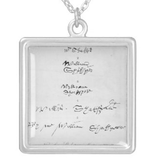 Five Genuine Autographs of William Shakespeare Silver Plated Necklace