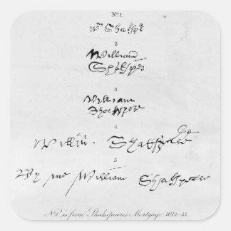 Five Genuine Autographs of William Shakespeare Square Sticker
