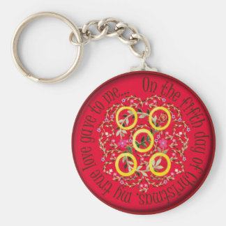 Five gold rings basic round button keychain