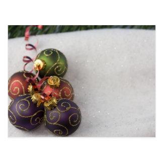 five gold scroll christmas ornaments postcard
