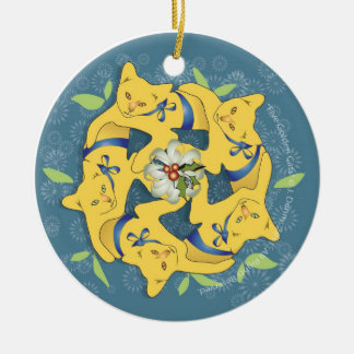 Five Golden Cats... Ceramic Ornament