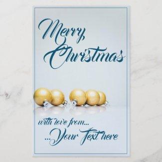 Five golden christmas balls - blue writing