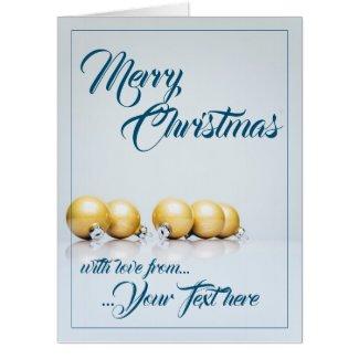 Five golden christmas balls - blue writing card