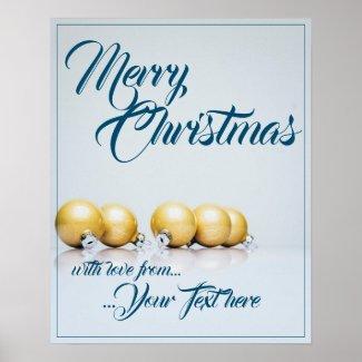Five golden christmas balls - blue writing poster