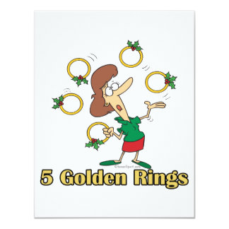 five golden gold rings 5th fifth day of christmas card