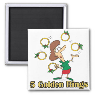 five golden gold rings 5th fifth day of christmas magnet