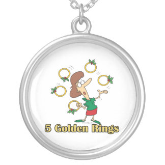 five golden gold rings 5th fifth day of christmas round pendant necklace
