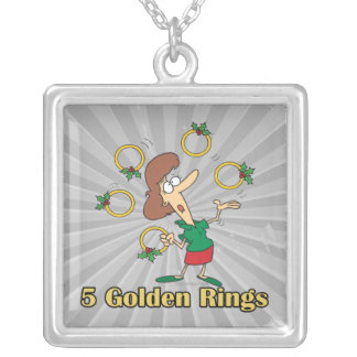 five golden gold rings 5th fifth day of christmas square pendant necklace