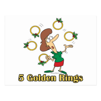 five golden gold rings 5th fifth day of christmas postcard