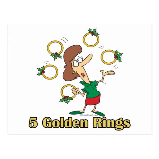 five golden gold rings 5th fifth day of christmas post card