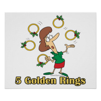five golden gold rings 5th fifth day of christmas poster