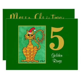Five Golden Rings Cute Cat Custom Christmas Card