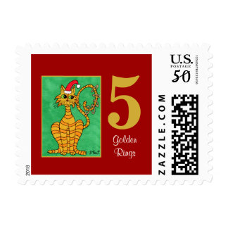 Five Golden Rings Cute Cat & Typography Postage