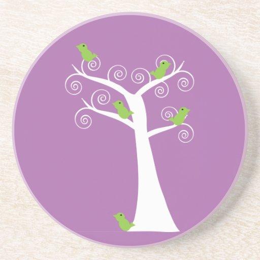 Five Green Birds in a Tree Coaster