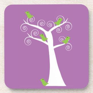 Five Green Birds in a Tree Cork Coaster