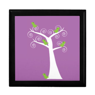Five Green Birds in a Tree giftbox Jewelry Boxes
