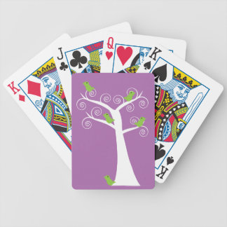 Five Green Birds in a Tree Playing Cards