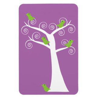 Five Green Birds in a Tree Premium Flexi Magnet