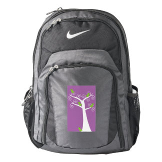 Five Green Birds in a Tree Purple Nike Backpack