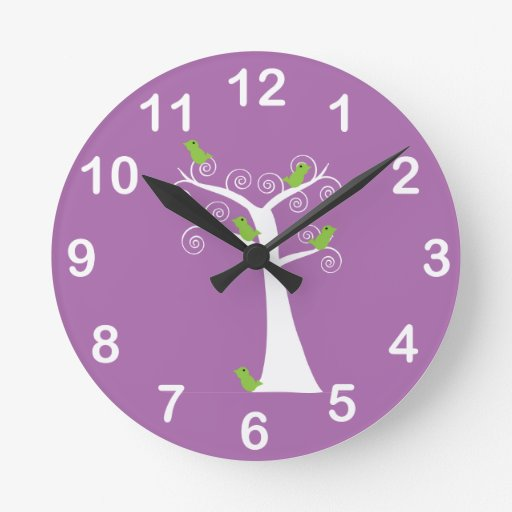 Five Green Birds in a Tree Wall Clock