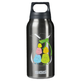 Five gumdrop characters in a bag insulated water bottle