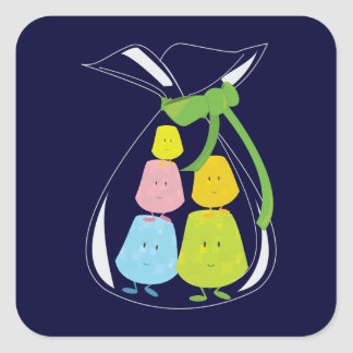 Five gumdrop characters in a bag square sticker