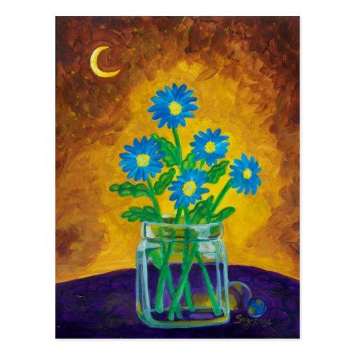 Five Happy Blue Flowers Postcard