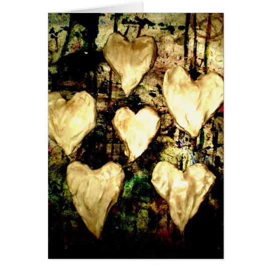 Five hearts card