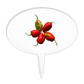 Five Hot Habanero Peppers Photograph Cake Topper