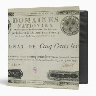 Five hundred livres banknote, 19th June 1791 3 Ring Binders
