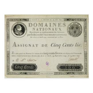 Five hundred livres banknote, 19th June 1791 Postcard