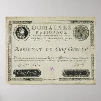 Five hundred livres banknote, 19th June 1791 Poster